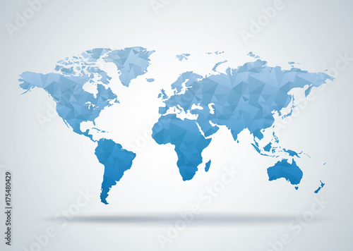 Obraz World Map Polygonal Style Background, Print Ready Design - fototapety do salonu