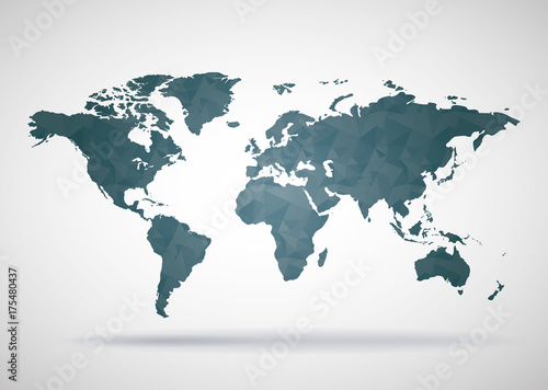 World Map Polygonal Style Background, Print Ready Design