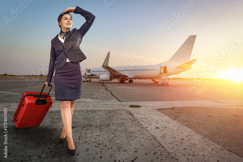 stewardess woman and plane