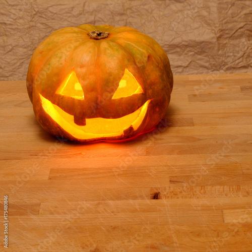 jake o lantern homemade carving, square Canvas Print