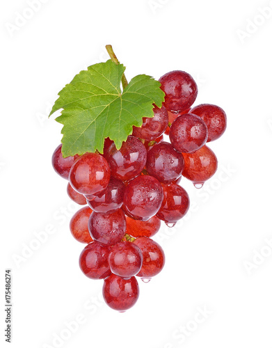 red grapes with water drops on white background. Fototapete