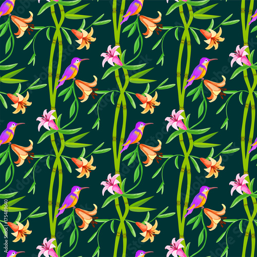 Hummingbird seamless pattern with bamboo.