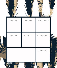 Hand Drawn Weekly Planner. Whi...