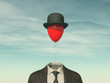 canvas print picture - .Man with a red balloon