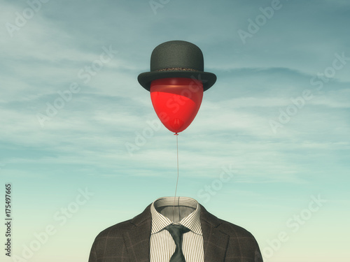 .Man with a red balloon Canvas Print