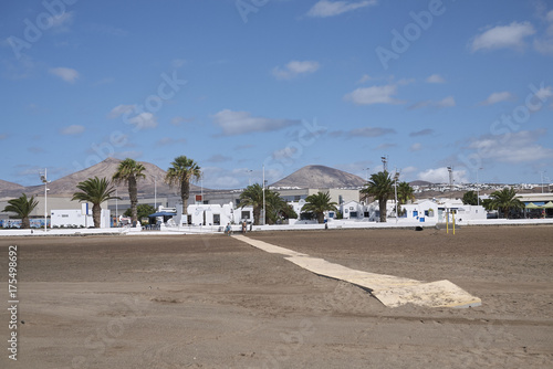 Tuinposter Canarische Eilanden Lanzarote, Spain - August 20, 2015 : View of Playa de Matagorda