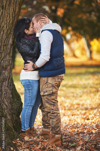 Young Lovers Dating In The Park At Autumn Buy This Stock Photo And
