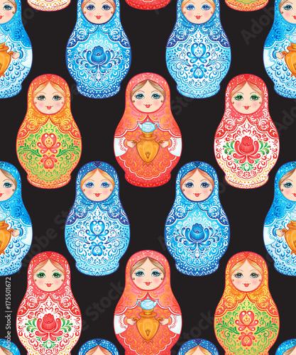 Photo Babushka (matryoshka) seamless pattern
