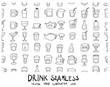 Doodle sketch drink icons seamless pattern background vector Illustration eps10