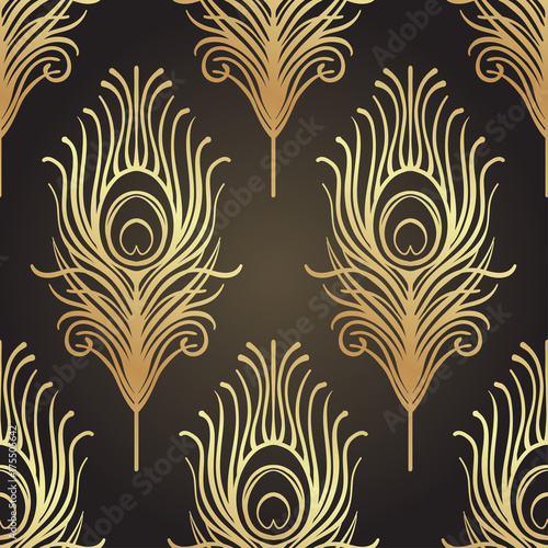 Art Deco Style Geometric Seamless Pattern In Black And Gold Vector