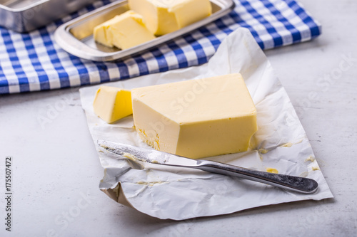 Staande foto Zuivelproducten Butter. fresh butter on the kitchen table