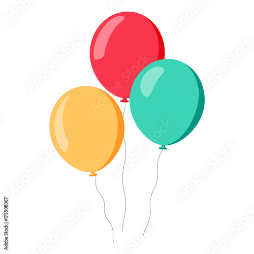 Fotografia, Obraz Bunch of balloons in cartoon flat style isolated on white background