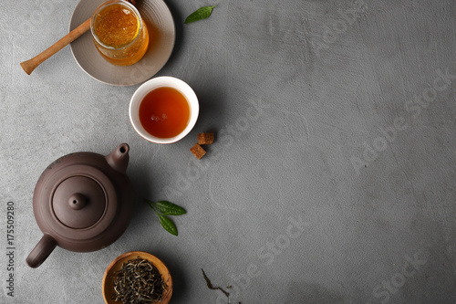 Spoed Foto op Canvas Thee Food background with tea pot