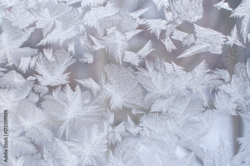 Beautiful frosty pattern in form of huge pointed snowflakes on window glass Wallpaper Mural