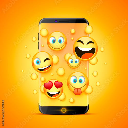 Photo  Icons for emoji from the phone on an orange background