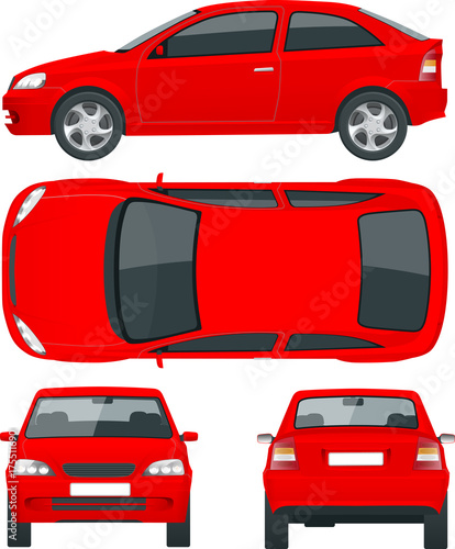 Set of Sedan Cars. Isolated car, template for car branding and ...