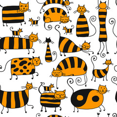 FototapetaCute striped cats family, seamless pattern for your design