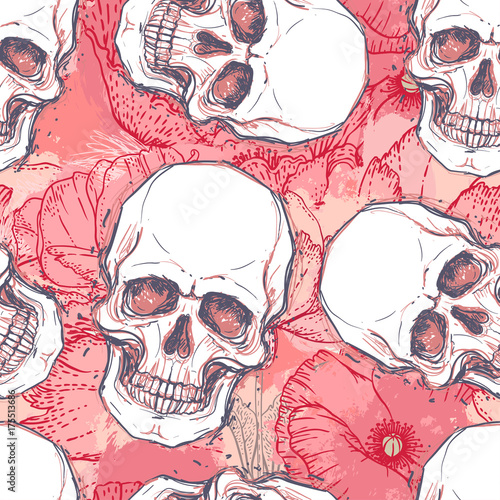 Printed kitchen splashbacks Watercolor skull Human skull with peony, rose and poppy flowers on watercolor background.Seamless pattern design. Vector illustration.