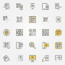 QR Code Colorful Icons Set - Vector Code Scanning Creative Signs
