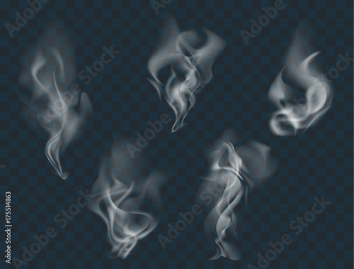 Poster Fumee Vector set of realistic smoke, isolated transparent illustration