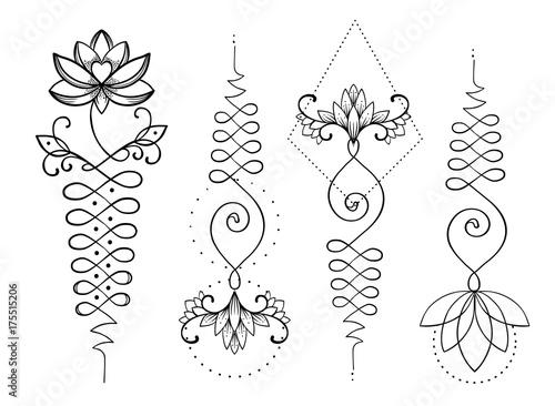 Lotos i święta geometria. Unamole hinduski symbol mądrości i ścieżki do doskonałości. Zestaw do tatuażu, logo jogi, buddyzm. Nadruk Boho, plakat, materiał tekstylny koszulki. Na białym tle wektor