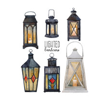 A Collection Of Lanterns With ...