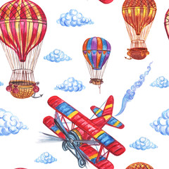 Fototapeta Seamless pattern from airplanes, balloons and clouds, hand drawing.