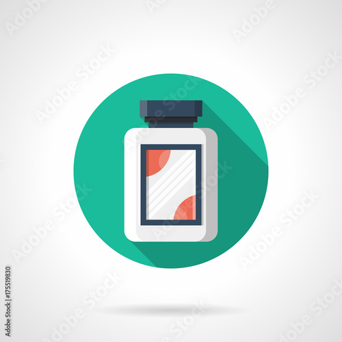 Fotografia  Creatine jar green round vector icon