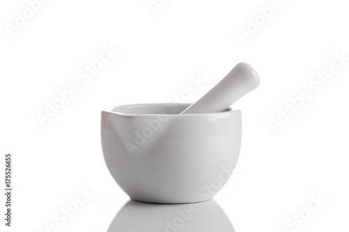 mortar and pestle on white background Canvas Print