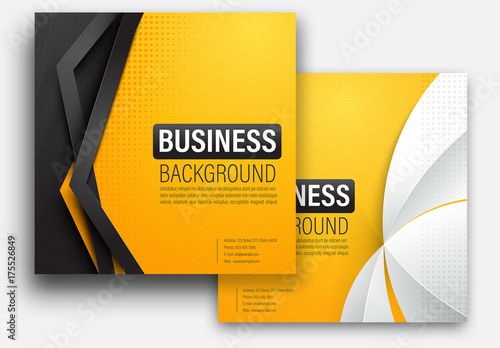 set of yellow square presentation layouts buy this stock template