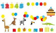 Elementy Urodzinowe - świeczki, Prezenty, Tort, Zwierzęta Z Balonami
