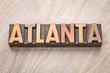 Atlanta word abstract in letterpress wood type