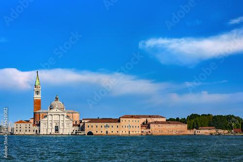 Plakat Włochy. Wenecja. Pejzaż Bazyliki San Giorgio Maggiore, XVI wieczny kościół benedyktyński. Wenecja i jej laguna znajdują się na Liście Światowego Dziedzictwa UNESCO