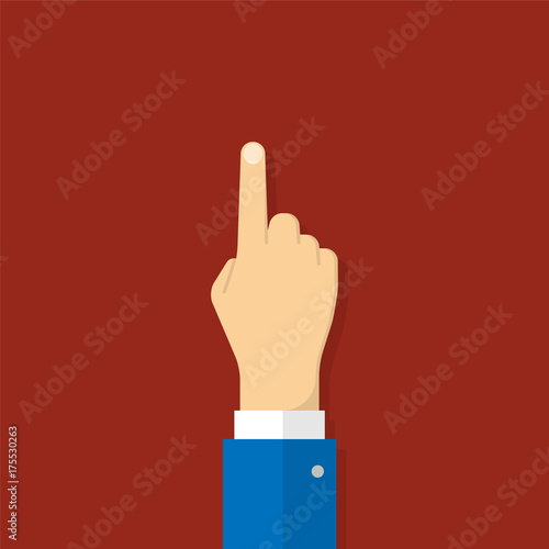Obraz Hand with pointing finger. Illustration in flat style - fototapety do salonu