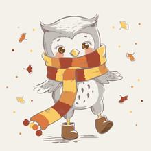 Cute Little Owl Wearing A Scar...