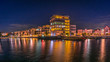Dortmund Phönixsee bei Nacht mit bunter Beleuchtung