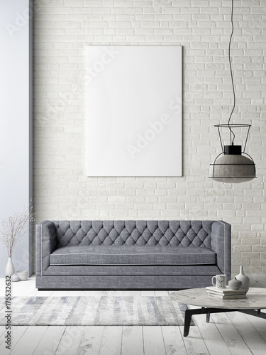 Mock up poster on white brick wall, hipster loft, 3d illustration