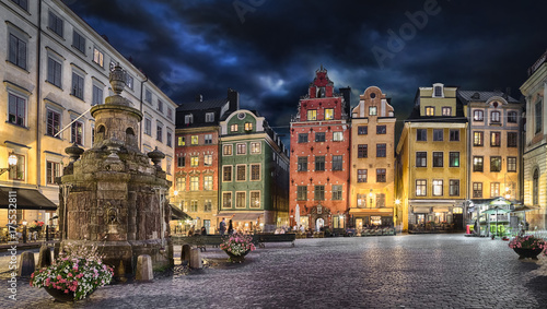 Photo  Stortorget square with colorful couses in the center of Old Town (Gamla Stan) of