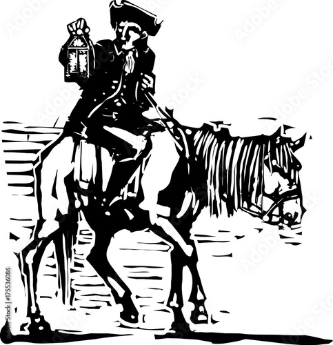 Fotografía  Colonial Horseman with Lamp