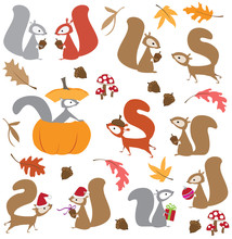 Colorful Vector Illustration Of Holiday Squirrels, With Leaves, Pumpkin, Mushrooms, Acorns And Gifts