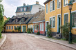 Street of colorful old homes in university town of Lund, Sweden