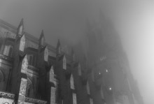 Gothic Cathedral In Mist On Spooky Night