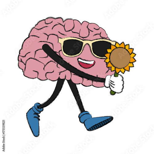 c784a0ee45 Cute brain with sunflower cartoon icon vector illustration graphic design