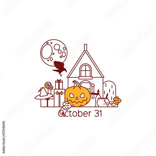 Halloween  Pumpkin, crow, skull, moon, house, candy, hat of