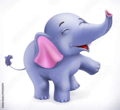 Słodkie dziecko słonia, postać z kreskówki. Śmieszne zwierzęta 3d wektor ikona
