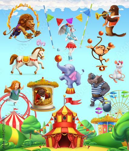 Cyrk śmieszne zwierzęta, zestaw ikon wektorowych. 3D zestaw ikon wektorowych