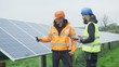 Technicians working at solar energy plant, checking the panels & talking