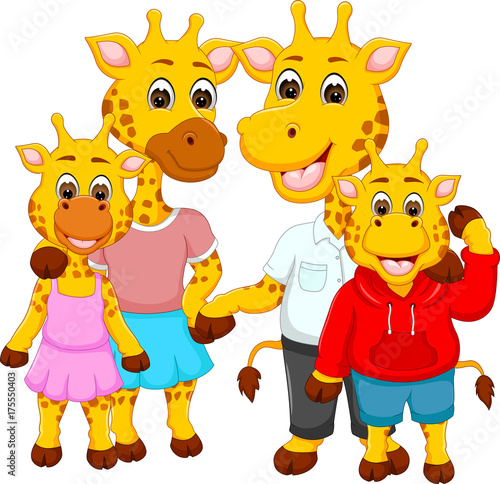 Photo Stands Kids happy family of giraffe cartoon