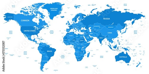 Obraz Detailed world map with borders, countries - fototapety do salonu