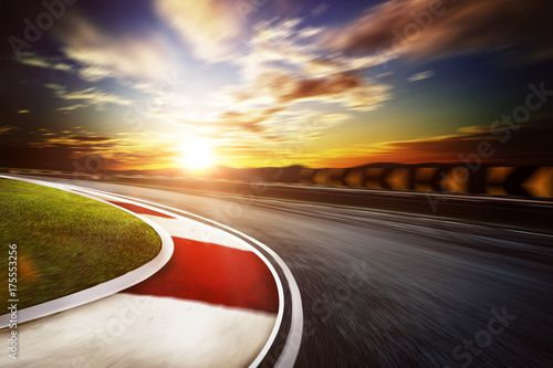 Motion blurred racetrack,warm mood
